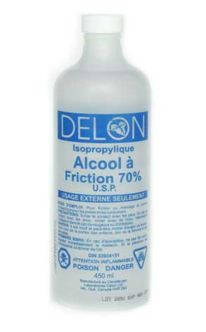 Alcool à friction pour désinfecter et assécher les plaies. Copyright http://labdelon.com